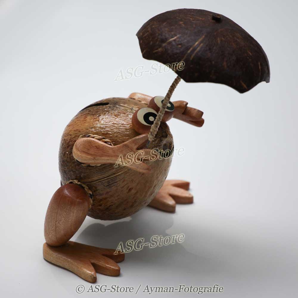 Kokosnuss Spardose im tollen Design als Frosch mit Regenschirm